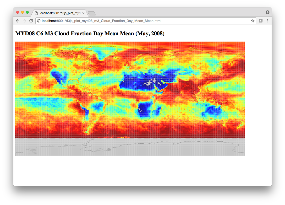Create a MODIS L3 data visualization with html, d3 js and python