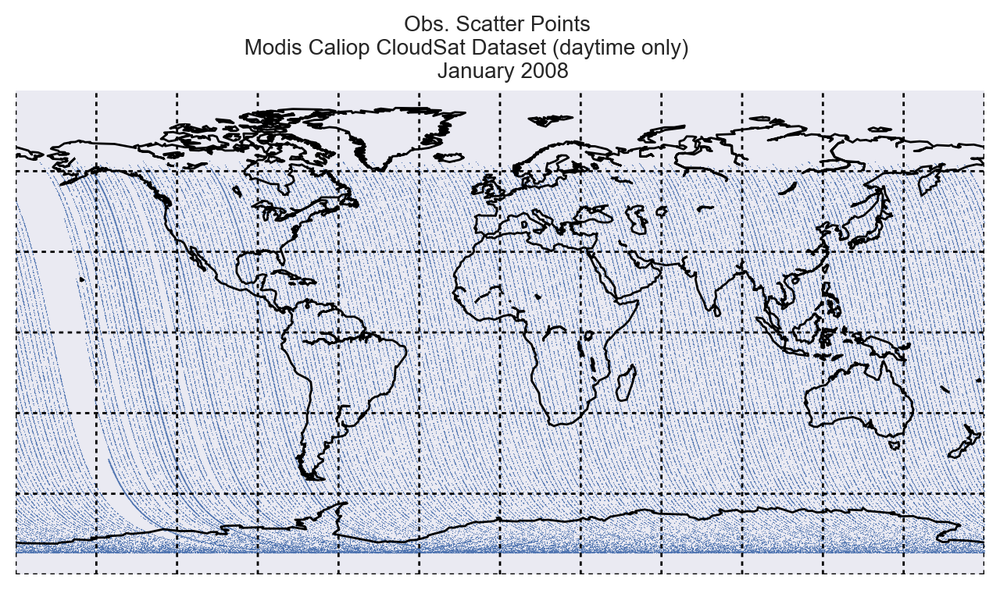 How to plot scatter points on a global map using matplotlib and