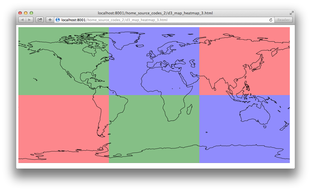 How to add a heat map on a global map using d3 js and topojson ?