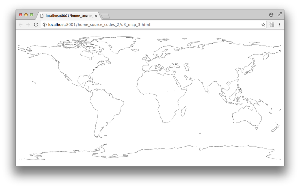 How to plot a simple global map using d3 js and topojson ?